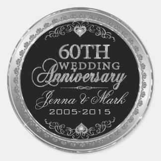 Silver Frame & Hearts 60th Wedding Anniversary Round Sticker
