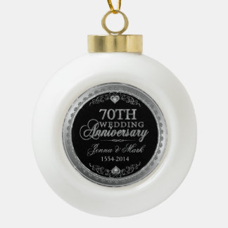 Silver Frame & Hearts 70th Wedding Anniversary Ceramic Ball Christmas Ornament