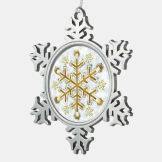 Silver Framed Gold Snowflake - Pewter Snowflake Snowflake Pewter Christmas Ornament