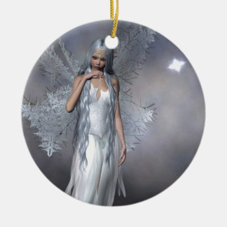 Silver Frost Fairy Ceramic Ornament