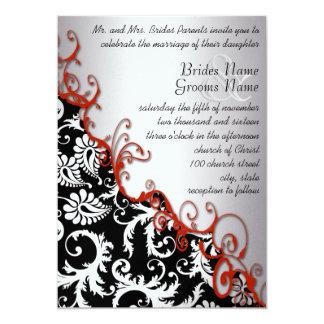Silver & Fuchsia Vintage Damask Romantic Swirl Card