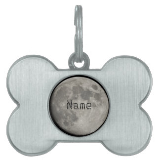 Silver Full Moon with Metallic Grunge Badge Crater Pet Name Tags
