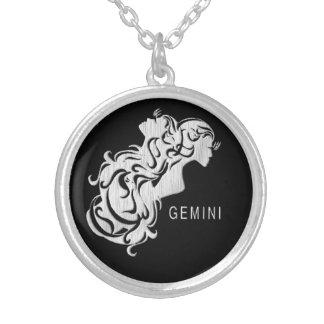 Silver Gemini Twins Zodiac Locket