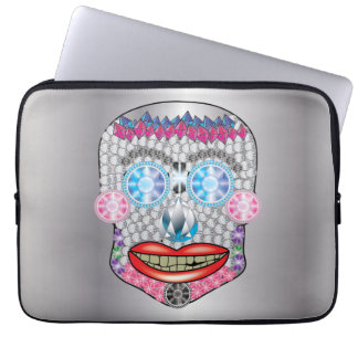 Silver Gemma Candy Skull Laptop Sleeve