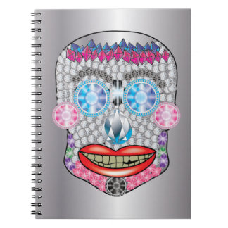 Silver Gemma Candy Skull Notebook