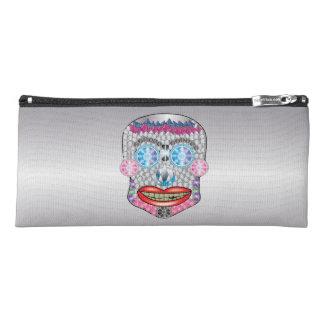Silver  Gemma Candy Skull Pencil Case