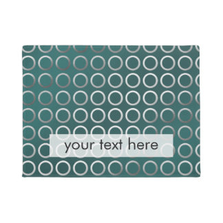 silver geometric circles pattern turquoise green doormat