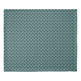 silver geometric circles pattern | turquoise green duvet cover