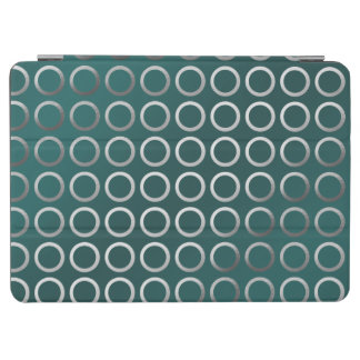 silver geometric circles pattern | turquoise green iPad air cover
