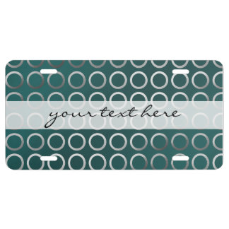 silver geometric circles pattern | turquoise green license plate