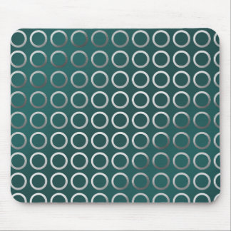silver geometric circles pattern | turquoise green mouse pad