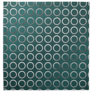 silver geometric circles pattern | turquoise green napkin