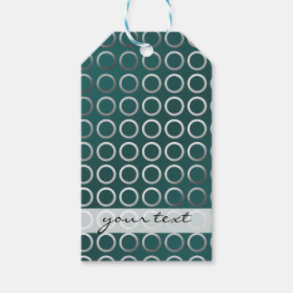silver geometric circles pattern | turquoise green pack of gift tags