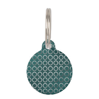 silver geometric circles pattern | turquoise green pet tag