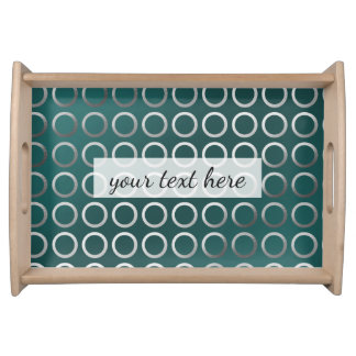 silver geometric circles pattern   turquoise green serving tray