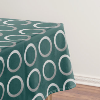 silver geometric circles pattern | turquoise green tablecloth