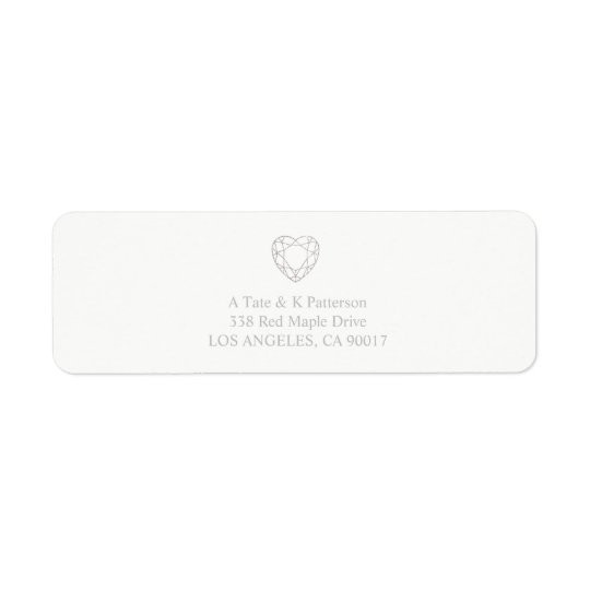 Silver geometric heart return address labels