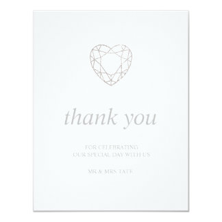 Silver geometric heart thank you - flat card