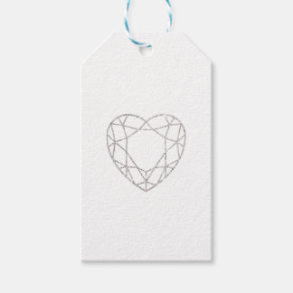 Silver geometric heart wedding favor tag pack of gift tags