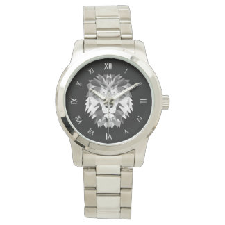 Silver Geometric Lion Head Watch