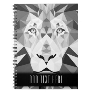 Silver Geometric Lion with Custom Text Spiral Notebook