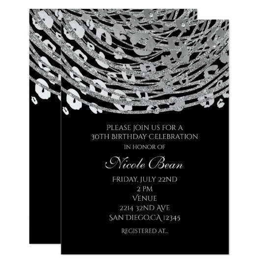 Silver Glam Cheetah Print Exotic Party Invitations