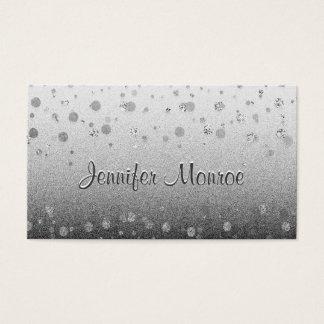 Silver Glam Confetti Sparkles Business Card