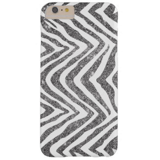 Silver Glam Faux Glitter Zebra Print Barely There iPhone 6 Plus Case