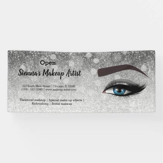 Silver glam lashes eyes | makeup artist banner