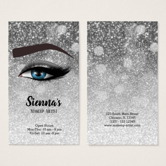 Silver glam lashes eyes | makeup artist business card