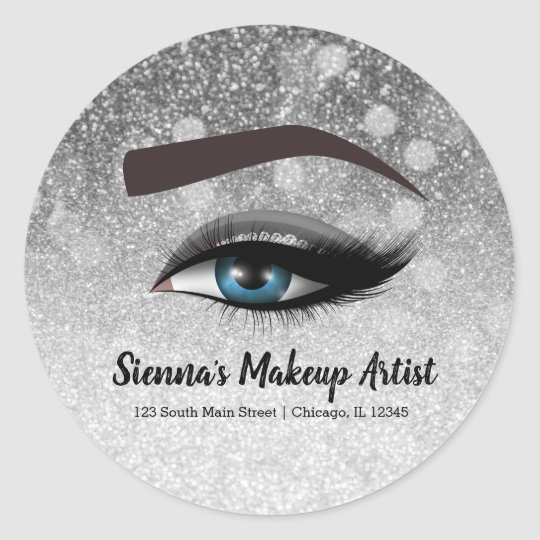 Silver glam lashes eyes | makeup artist classic round sticker