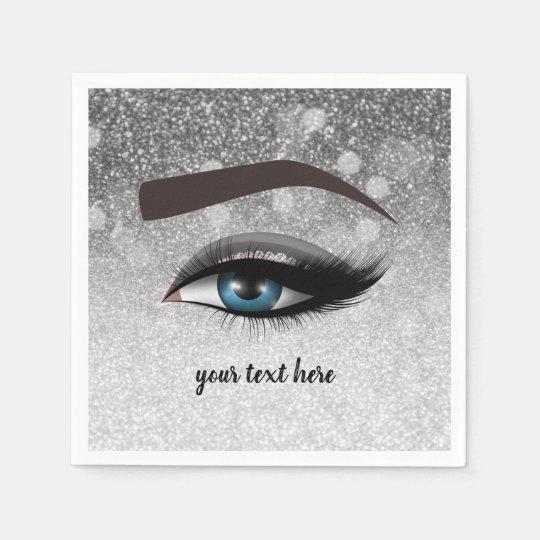 Silver glam lashes eyes | makeup artist paper napkins