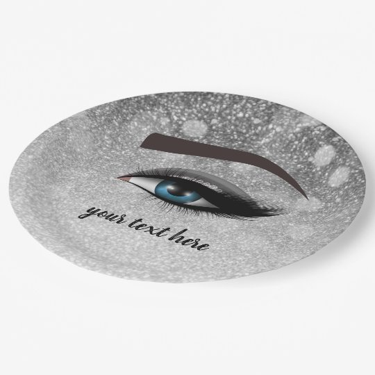 Silver glam lashes eyes | makeup artist paper plate