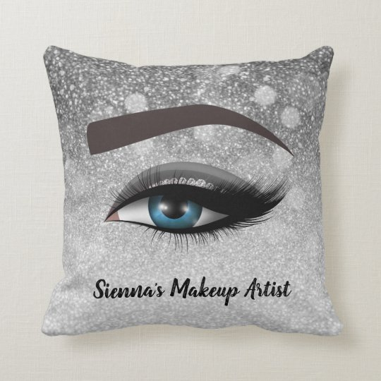 Silver glam lashes eyes | makeup artist throw pillow