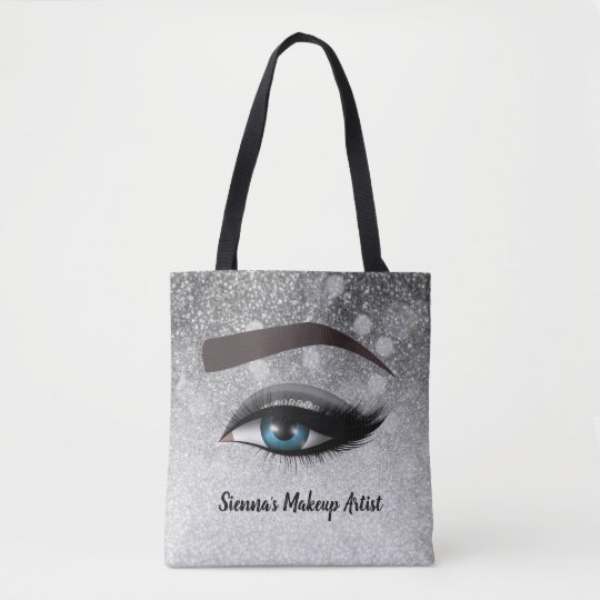 Silver glam lashes eyes | makeup artist tote bag