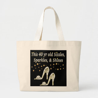 SILVER GLAMOROUS 40TH BIRTHDAY DESIGN LARGE TOTE BAG