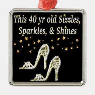 SILVER GLAMOROUS 40TH BIRTHDAY DESIGN METAL ORNAMENT