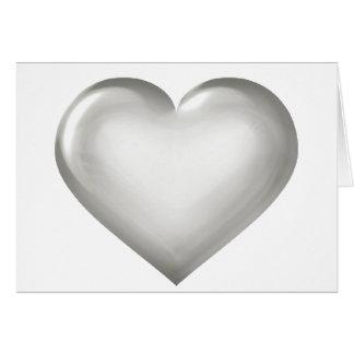 Silver glass heart card