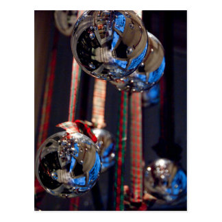 Silver glass ornament decorations postcard
