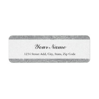 Silver Glitter Address Label