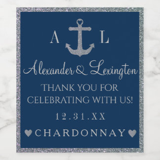 Silver Glitter Anchor Navy Blue Monogram Wedding Wine Label