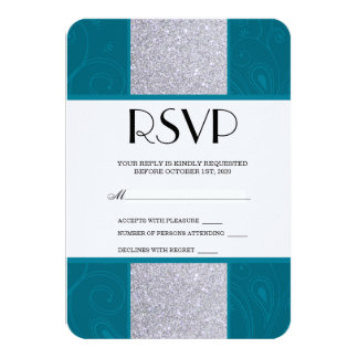 Silver Glitter and Aqua Teal with Swirly Design Card