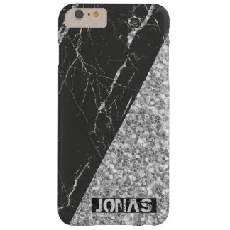 Silver Glitter And Black Marble Barely There iPhone 6 Plus Case