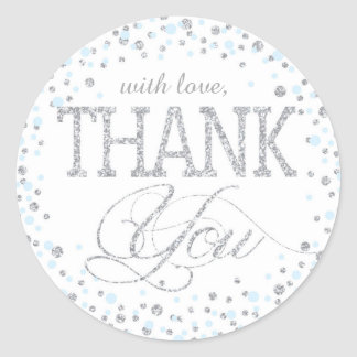 Silver Glitter and Blue Sprinkle Thank You Label Round Sticker
