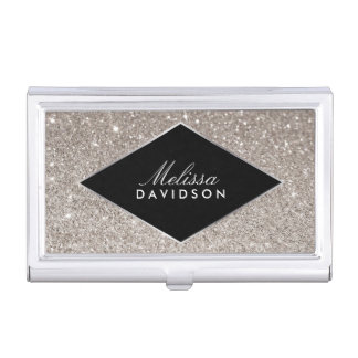 Silver Glitter and Glamour Beauty Case For Business Cards