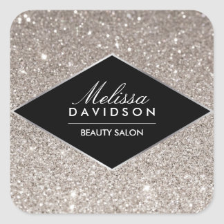 Silver Glitter and Glamour Beauty Square Sticker