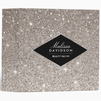 Silver Glitter and Glamour Personalized Binder