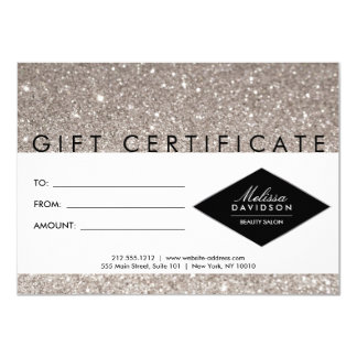 Silver Glitter and Glamour Salon Gift Certificate Card