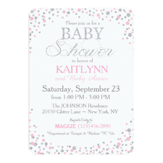 """Silver Glitter and Pink Sprinkle Baby Shower 5"""" X 7"""" Invitation Card"""