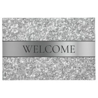 Silver Glitter And Stripe Doormat